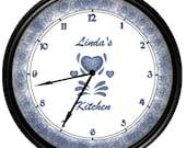 Personalized Blue Hearts Corelle Decor Clock Gift