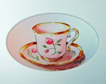 Teacup with Pink Roses Original Watercolor Painting Tea Party Gift