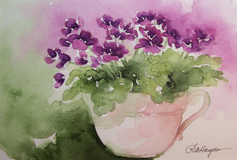 Purple African Violets In Teacup Watercolor Painting
