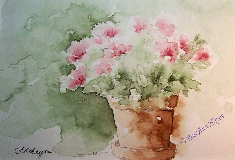 Pink Flowers In Terra Cotta Flower Pot Watercolor Print