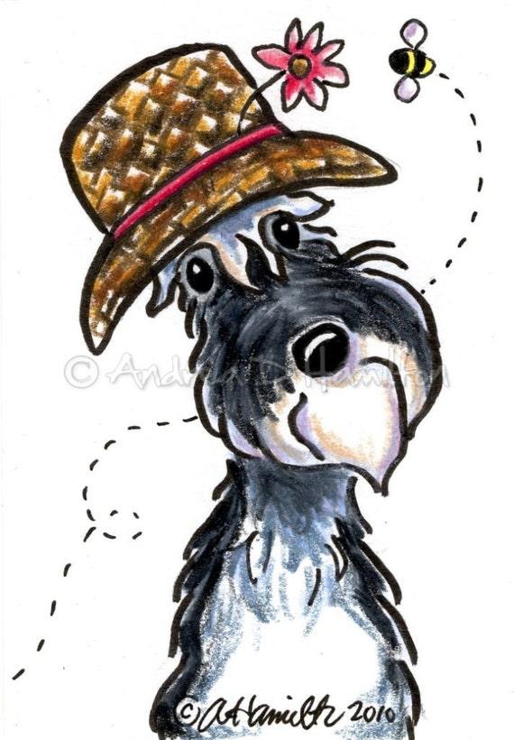 Miniature Schnauzer L'ssie Beth Cartoon Illustration