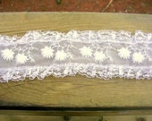2  Yards of Amazing White on White Embroidered Lace Scrapbooking Sewing Crafts Altered Art Mixed Media Dolls Quilting  .V87