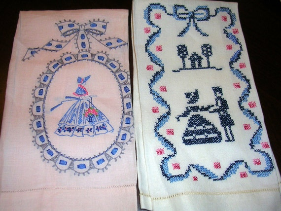Pair Embroidered Southern Belle Hand Towels  Pinks and Blues  ...T8