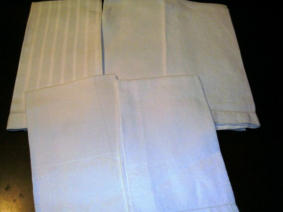 5 vintage Guest Hand Towels all White with Damask Designs  ...T22