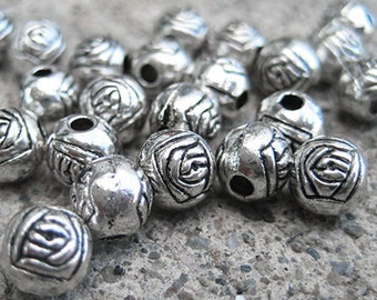 10 Rose Beads - 6mm Round - Antique Silver - TS525B
