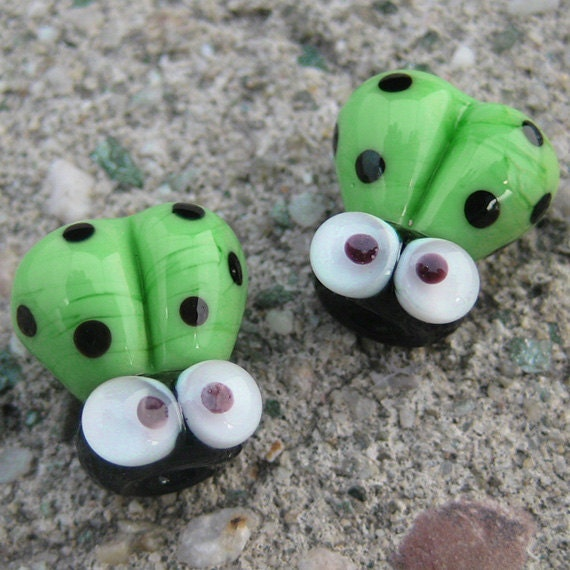 Green Handmade Lampwork Glass Ladybug Beads SRA PCJ L - Made in USA