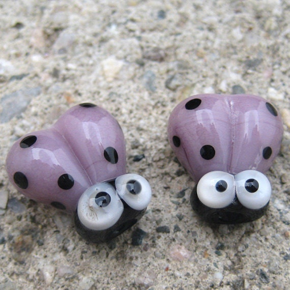 Purple Handmade Lampwork Glass Ladybug Beads SRA PCJ E - Made in USA