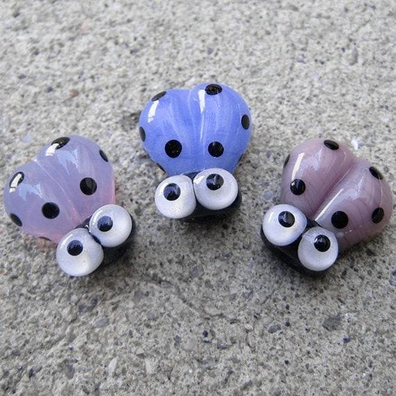 Blue Handmade Lampwork Glass Ladybug Beads SRA PCJ E - Made in USA