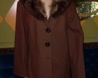 Vintage 50s Brown Wool Winter Coat, Lined, Med to Large
