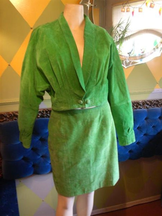 Vintage 80s Green Leather Outfit, Suit, Retro, Lined, Wilson's, Large, 14