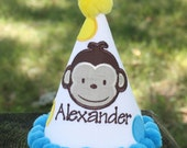 Personalized Monkey Birthday Hat - Name - Boy or Girl - Photography Prop - Photo Shoot - Cake Smash - 1st Birthday - Party - Decorations