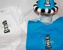 Personalized Zebra Print Party Hat & Bib Set - 1st Birthday - Boy or Girl - Animal Print - Blue - Cake Smash - Theme - Name - Party Decor
