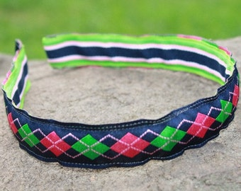 Reversible Preppy Argyle & Stripes Headband - Hair Accessories - Girls - Birthday - Gift - Holidays - Party Favors