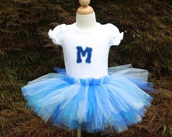 "Personalized ""Sea of Blues"" Tutu & T-shirt Set - Bodysuit - Birthday - Intials - Girls - Party - Dress - Celebration - Pageant - Princess"