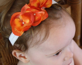 """Gorgeous """"The Abby"""" Sewn Elastic Flower Crystal Headband - Orange - Flower Girl - Birthday - Special Occasion - Fall - Hair Accessories S"""