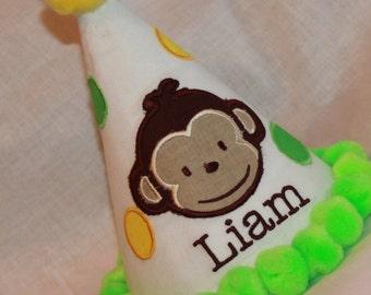 TLB Boy Girl Modern Monkey II Girl Polka Dot Custom Boutique Birthday Party Hat in green and yellow