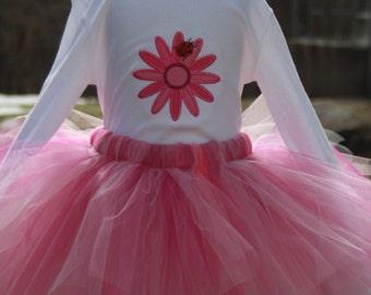 Spring-themed Kacey Rose II Tutu & T-shirt Set - Flower - Ladybug - Girls - Pink - Fairy - Princess - Birthday - Party - Celebration