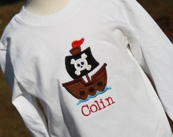 Personalized Pirate Ship Birthday Bodysuit or T-shirt - Gift - Celebration - Party - Cake Smash - Boys - Decor - Photo Shoot - Theme