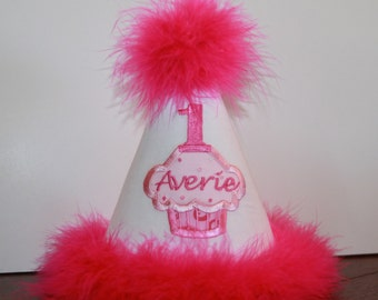Personalized Princess Cupcake-themed 1st Birthday Hat - Pink & Red - Party - Celebration - Cake Smash - Girls - Photo Shoot