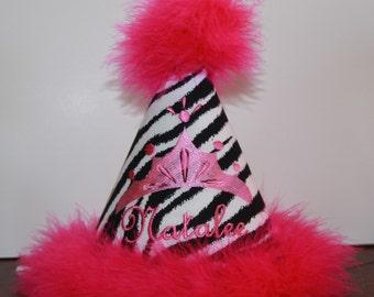 "Personalized Zebra ""Wild Side"" Party Hat - Girls - Animal Print - Princess Tiara - Hot Pink - Theme - Cake Smash"