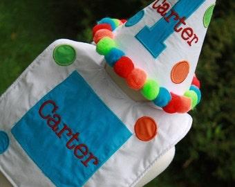 Personalized Big Polka Dots Party Hat & Bib Set - 1st Birthday - Boy or Girl - Colorful - Cake Smash - Theme - Name - Party Decor