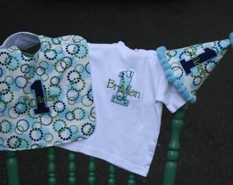 Personalized Birthday Party Set - Hat - Bib - Bodysuit or T-shirt - Custom - Art Deco - Celebration - Boys - Cake Smash - 1st Birthday