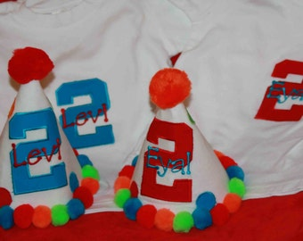 Personalized Big Polka Dots Twins Party Hat & T-shirt Set - 1st Birthday - Boy or Girl - Colorful - Cake Smash - Siblings -  Party Decor