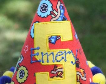 Personalized Monster Truck-themed Birthday Hat - Boys - Party - Celebration - Cake Smash - Wheels - Photo Shoot