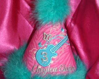 "Girl's ""Wild Thing"" Personalized Birthday Party Hat - Rock Star - Guitar - Theme - Cake Smash - Celebration - Decor"