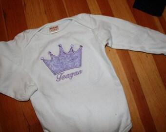 Personalized Purple Paisley Crown Bodysuit or T-shirt - Girls - Birthday - Party - Custom - Princess - Celebration - Cake Smash