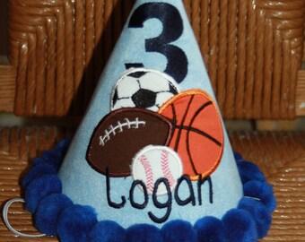 TLB Boy or Girl Personalized Birthday Hat Sports Baseball, Basketball, Football, Soccer Photographers Props Cake Smash