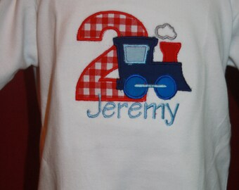 Personalized Train Birthday Bodysuit or T-shirt - Embroidery - Party Decor - Gift - Celebration - Conductor - Photo Shoot - Boys