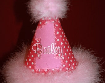 Vintage Pink Princess Party Hat - Personalized - Birthday - Girls - Polka Dots - Cake Smash - Celebration - Party Decor