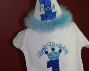 Personalized Birthday Little Prince themed Set of Hat and shirt   Photographers Props Cake Smash