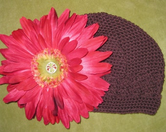 Beautiful & Bright Crocheted Hat for Girls - Large Flower - Gerber Daisy - Gift Idea - Sunhat - Special Occasion - Birthday - Summer