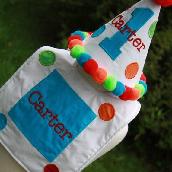 TLB Custom Party hat, shirt, boxers and Bib Set matches Big One Dots Birthday Set