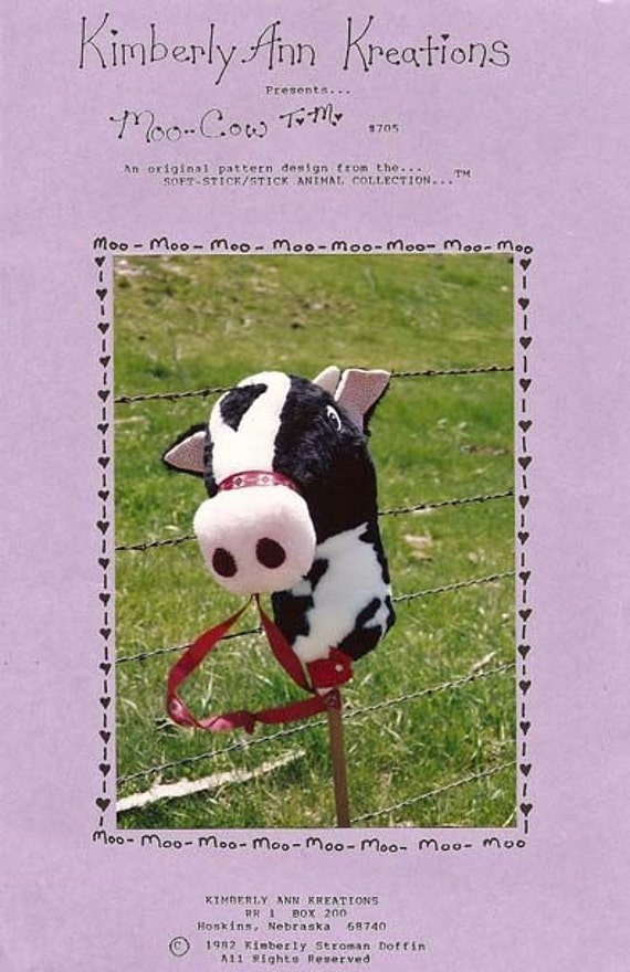 Kids Holstein Cow Farm Animal Stick Horse Sewing Pattern Designed in Nebraska by Kimberly Loberg Doffin