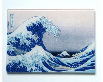 Hokusai  Wave Japanese Art Glass cutting board.