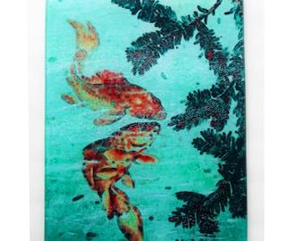 Koi  Art glass , heat proof cutting board