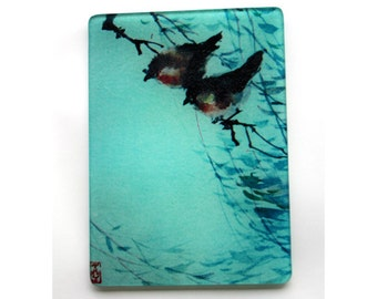 two Japanese small  birds Glass cutting board