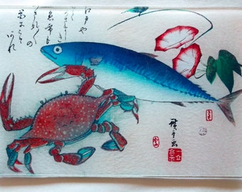 Fish and Crab Japanese glass cutting board