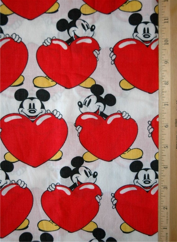 Vintage Mickey Mouse HEART cotton fabric FQ