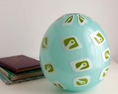 Pale Turquoise Murrine Vase, Large Hand Blown Art Glass Vase