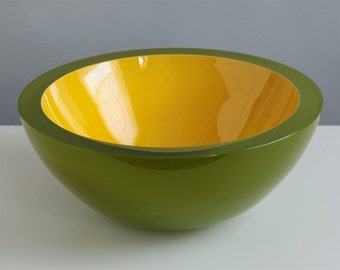Avocado Bowl, Hand Blown Art Glass Bowl in Lime Green and Yellow