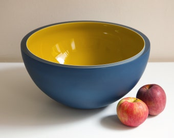 Neptune Bowl, Hand Blown Glass Bowl in Navy Blue and Mustard Yellow