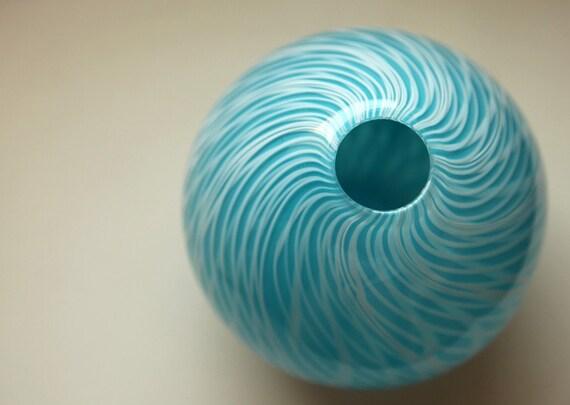 Vivid Aquamarine and White Blown Glass Vase