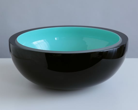 RESERVED Wintergreen Tuxedo Hand Blown Glass Bowl in Black and Turquoise