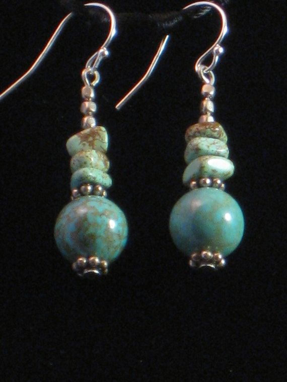 Blue-green turqoise earrings