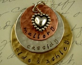 Hand Stamped Mom Grandma Necklace Mixed Metals Mothers Day Jewelry Custom