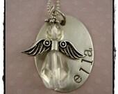 Hand Stamped Custom Necklace My Little Angel Children Adult Daughter Grand-Daughter  Niece Friend